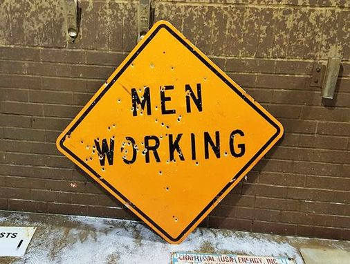 Custom Made Vintage Men Working Metal Sign Signage Man Cave