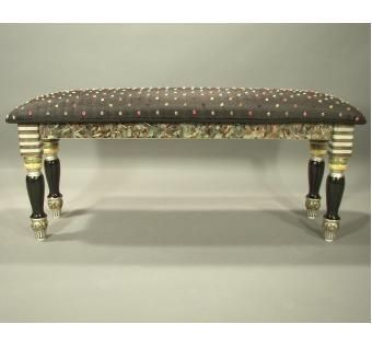 Custom Made Hand-Painted  Upholstered Bench