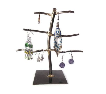 Custom Made Hand Sculpted Metal Earring Tree Display Stand