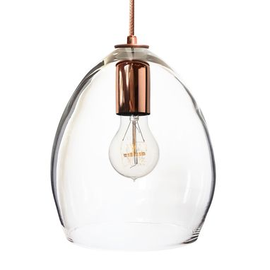 Custom Made Hand Blown Clear Glass Pendant Light Copper