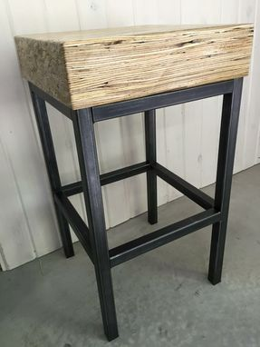 Custom Made Metal Stool With Wood Top