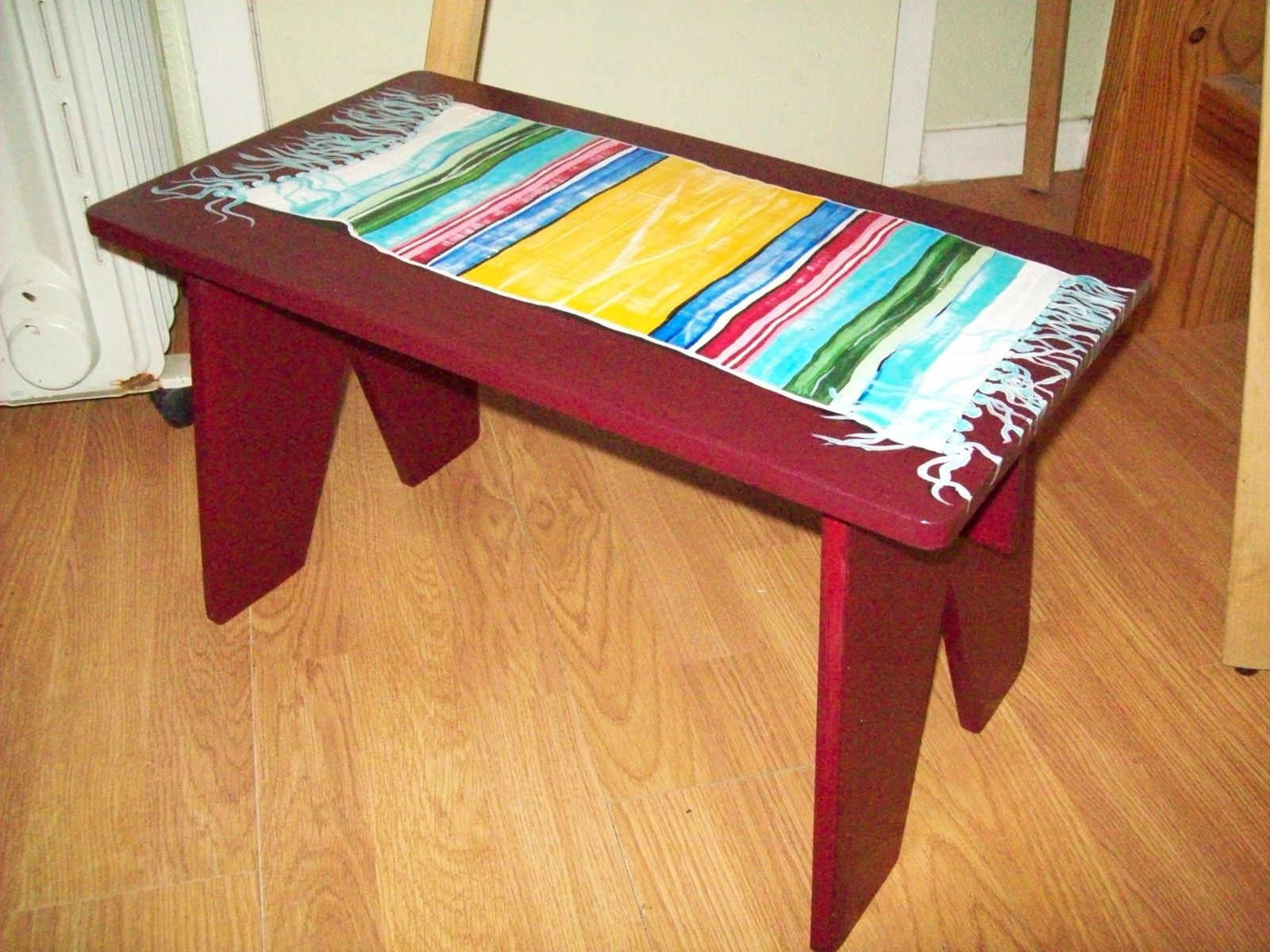 Swell Hand Made Wood Bench Step Stool With Indian Blanket By I Machost Co Dining Chair Design Ideas Machostcouk