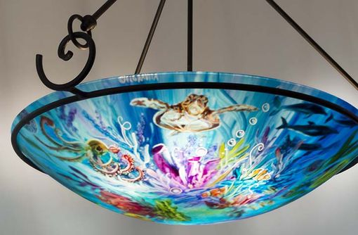 Custom Made Thriving Ocean Reef Hand Painted Chandelier