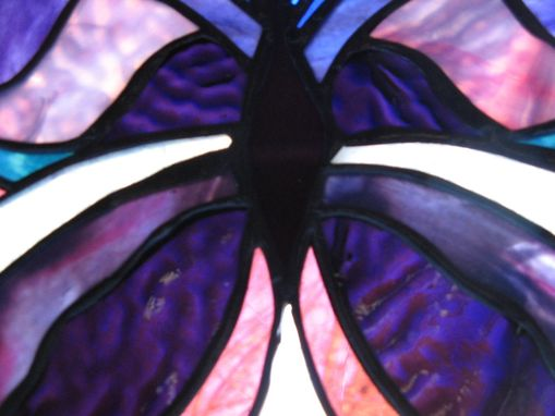 Custom Made Stained Glass Butterfly In Purple And Teal