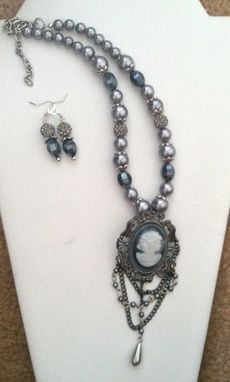 Custom Made Grey Pearl Cameo Necklace
