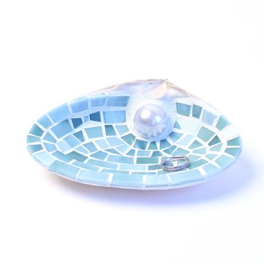 Custom Made Xl Blue Seashell Wedding Ring Dish With Pearl, Nautical Beach Ring Pillow, Engagement Ring Dish