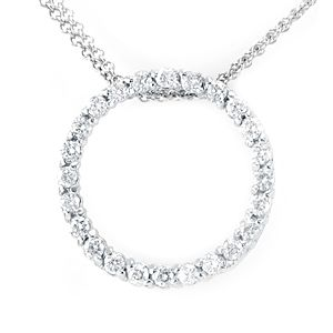 Custom Made Eternity Diamond Pendant In 14k White Gold