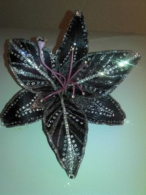 Custom Made Large Deep Purple Lily With Sliver Shimmer