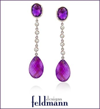 Custom Made Amethyst And Diamond Drop Earrings