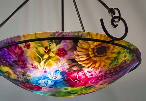 Custom Made August Napa Evening Reverse Painted Chandelier