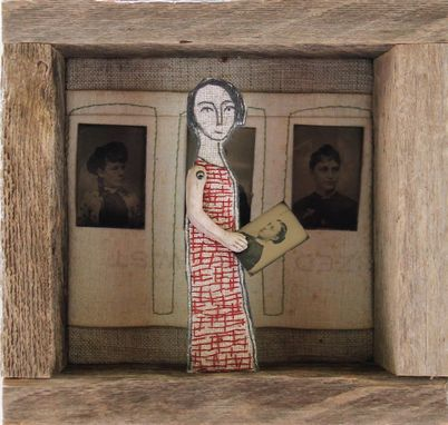 Custom Made Fiber Art Embroidered Barnwood Diorama -Girl With Tintypes