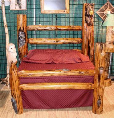Custom Made Handcarved Log Bed