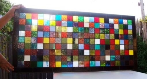 Custom Made Stained Glass Window Panel - Colorful Quilt Squares (W-8)
