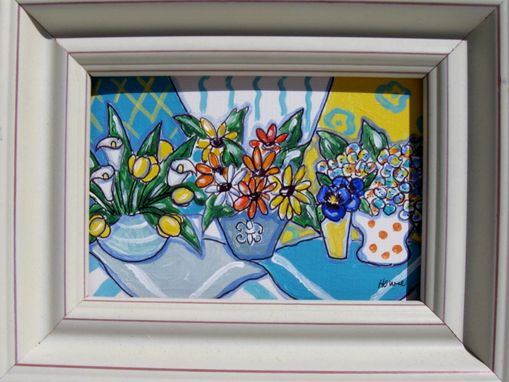 Custom Made Acrylic Still Life Original Painting, White Frame