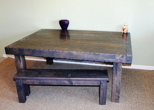 Custom Made Extension Table With Custom Grey Stain Brings Out Grain But Matches Natural Stone