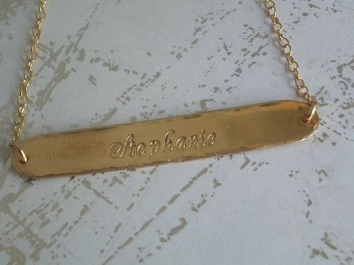 Custom Made Name Plate Necklace In Gold Plate