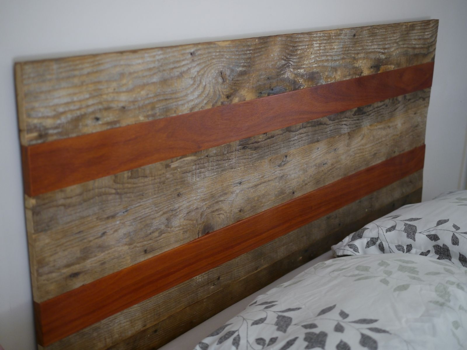 Hand crafted queen size rustic headboard with reclaimed for Reclaimed decking boards