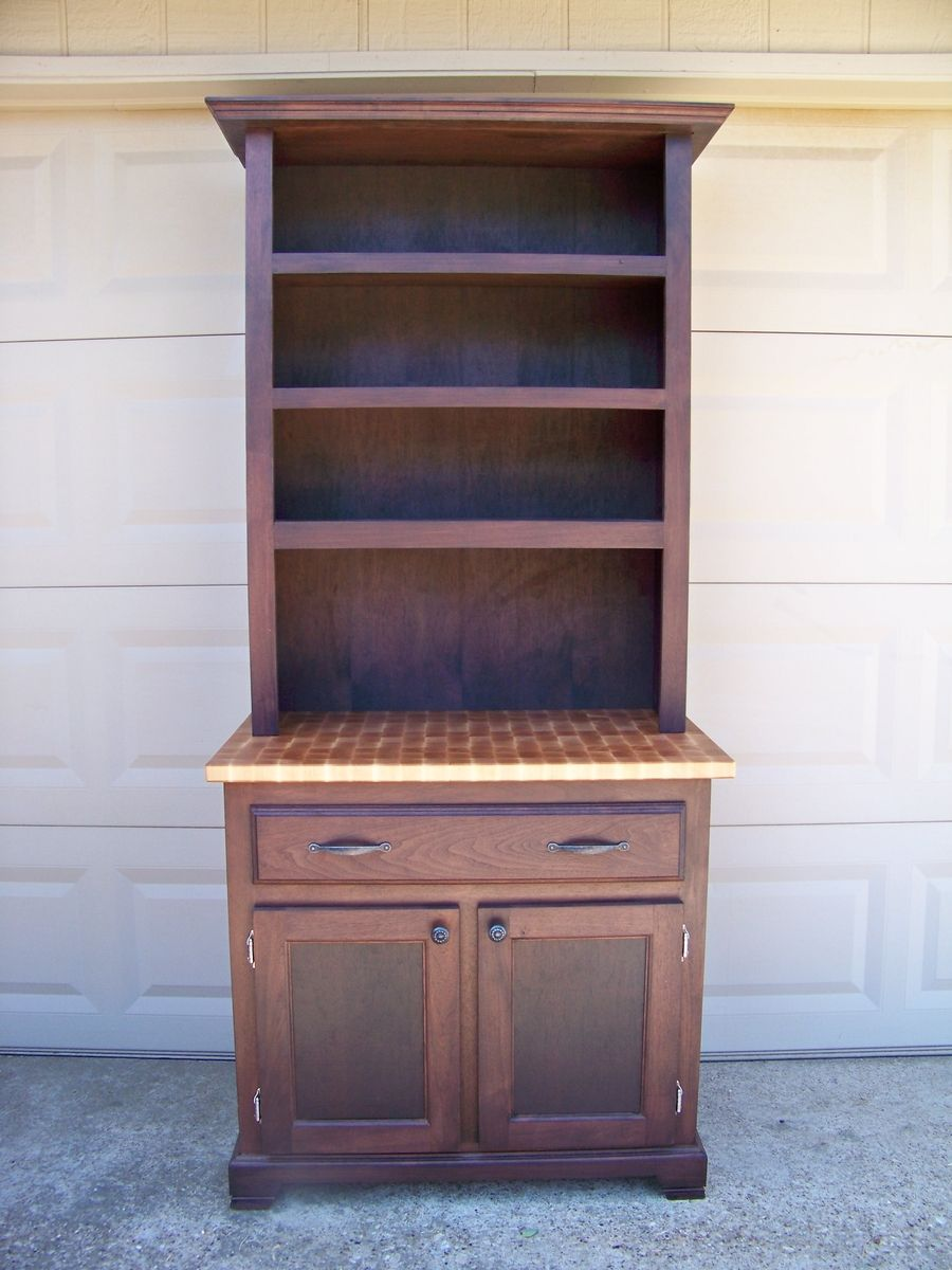 Walnut And Butcher Block Maple Hutch