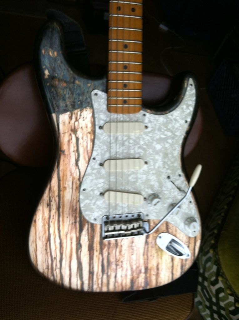 Custom Made Silver Leaf Finish Guitar By Darin Danford
