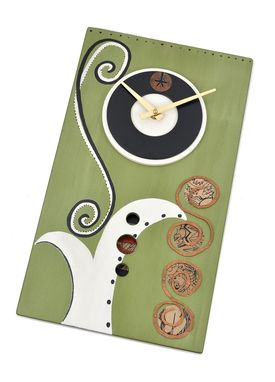 Custom Made Olive Green Wall Clock / Art Object With Copper Swirls - Water Is Life Design