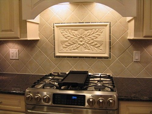 Kitchen Backsplash Tiles Using Colonial Flower Tile And Decorative Liners - Hand Crafted Kitchen Backsplash Tiles Using Colonial Flower Tile