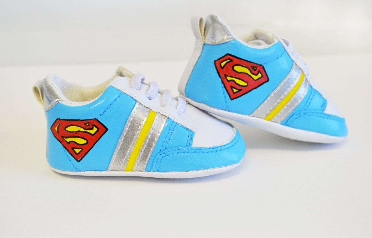 Custom Baby Shoes/ Baby Sneaker/ Super Man/ Hand Painted/ White ...
