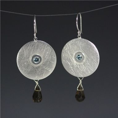 Custom Made Dot On Disc Flush Earring W-Briolette (Blue Zircon, Smoky Quartz)