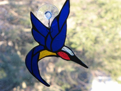 Custom Made Ruby-Throated Hummingbird Stained Glass Light Catcher