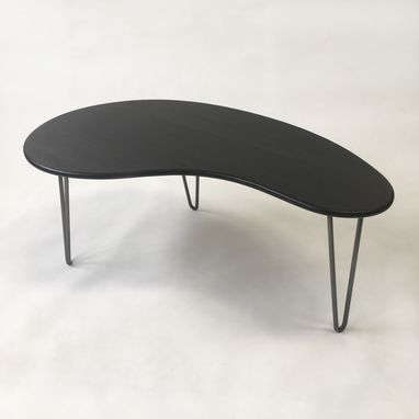 Custom Made Black Mid Century Modern Coffee Table - Kidney Bean Shaped In Dyed Bamboo