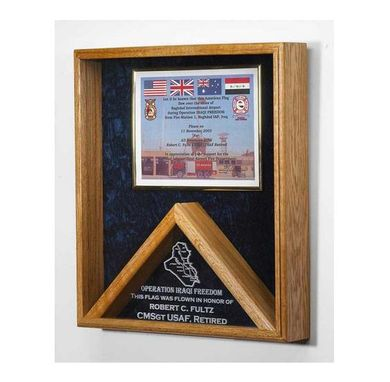 Custom Made Military Medal And Flag Display Case - Shadow Box