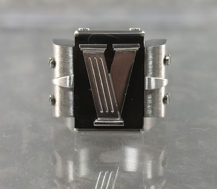 Custom Made Men's Black Jade Art Deco Ring