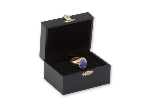 Custom Made Small 9k Gold And Engraved Lapis Signet Ring