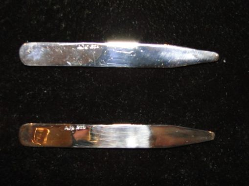Custom Made Polished Sterling Silver Collar Stays 3