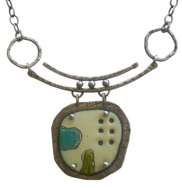 Custom Made Modern Enamel And Sterling Silver Necklace