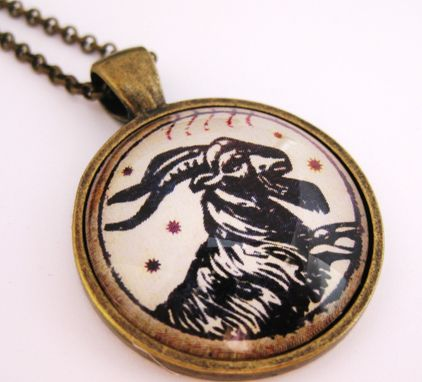 Custom Made Vintage Style Capricorn Pendant On Rolo Necklace