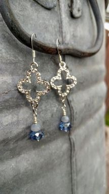 Custom Made Pave Quatrefoil Silver And Blue Bling Earrings