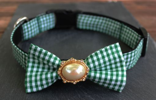 Custom Made One Of A Kind Removable Bow Tie- Green & White Gingham With Vintage Centerpiece