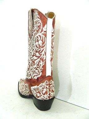 Custom Made Made To Order Full Decorative Stitching Boots Sharp Toe  And Vegetable Taned Brown Leather
