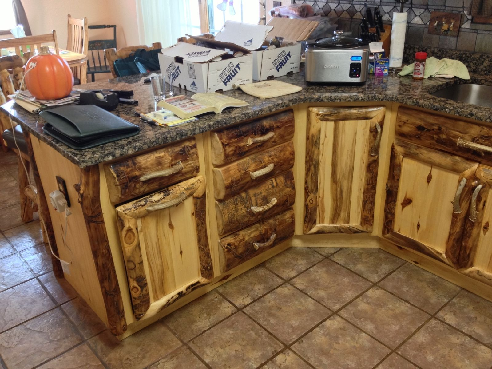 Hand Made Rustic Aspen Log Kitchen Cabinets And Built In Wall E Rack By Ireland S Wood Custommade