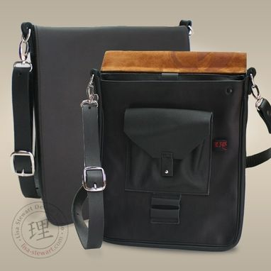 Custom Made Leather & Suede Ipad Tablet Messenger Bag