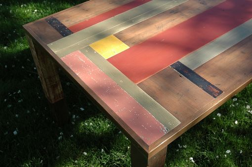 Custom Made Red And Grey Dining Table