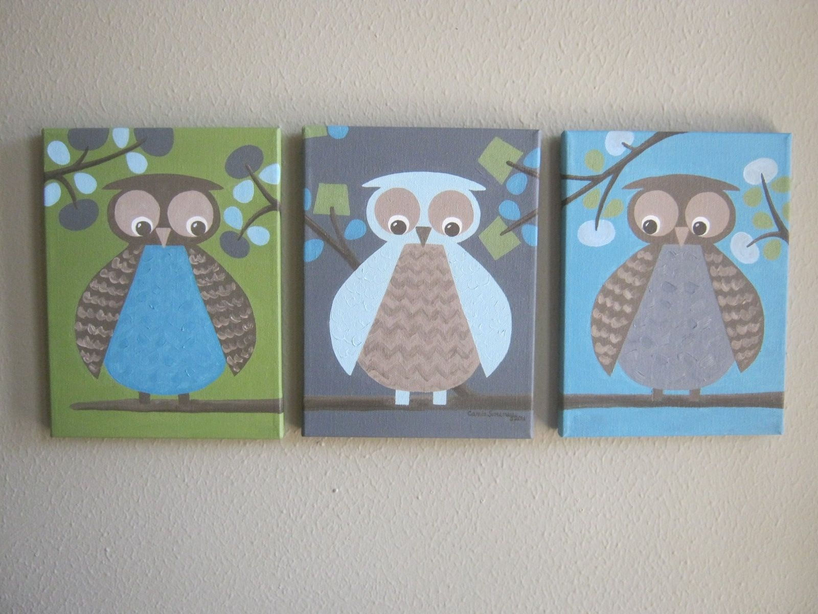 Custom Made Nursery Artwork Dwell Studio Owls