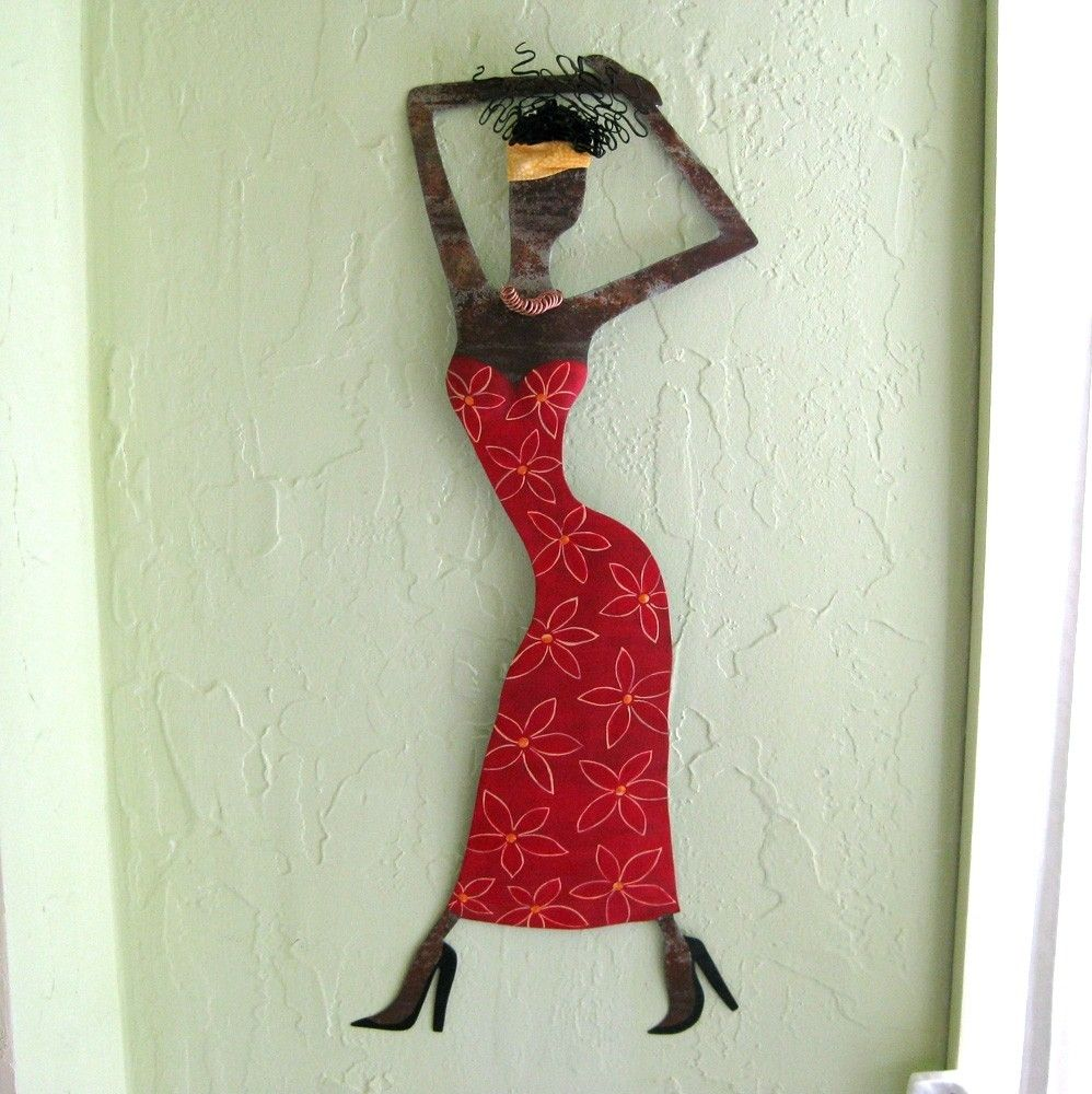 Custom Made Handmade Upcycled Metal Exotic African Lady Wall Art Sculpture In Red
