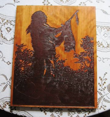 Custom Made Native American Indian Wood Carved Wall Art Hanging