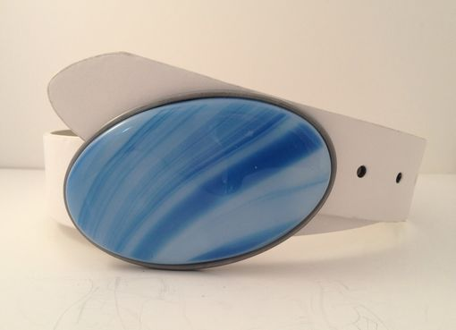 Custom Made Oval Light Blue And White Fused Glass Belt Buckle