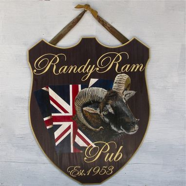Custom Made Pub Sign Ram Painting On Reclaimed Wood