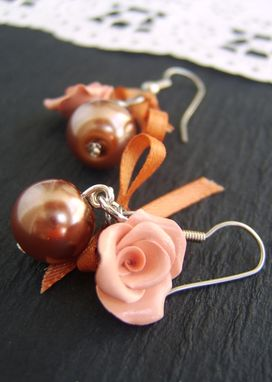 Custom Made Salmon Pearl And Ribbon Earrings - Roses Hand-Crafted In Polymer Clay