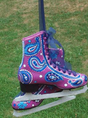 Custom Made Custom Hand Painted Ice Skates - Pair