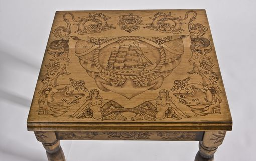 Hand Made Wood Burned End Table With Old Tattoo Flash By