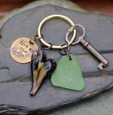Custom Made Skeleton Keychain, Glass Heart, Boro Borosilicate Lampwork, Sea Glass, Green - Live On The Edge